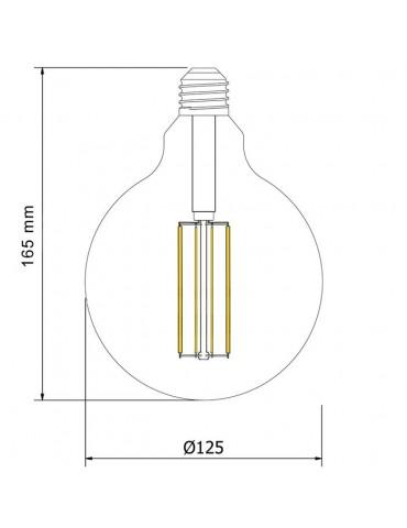 LED VINTAGE RETRO GLOBO G125 DIMENSIONES  CRISTAL TRANSPARENTE