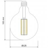 LED VINTAGE GLOBO G125 6W E27 230V CRISTAL 360° dimensiones
