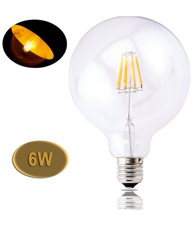 LED VINTAGE RETRO GLOBO G125 6W E27 230V CRISTAL TRANSPARENTE