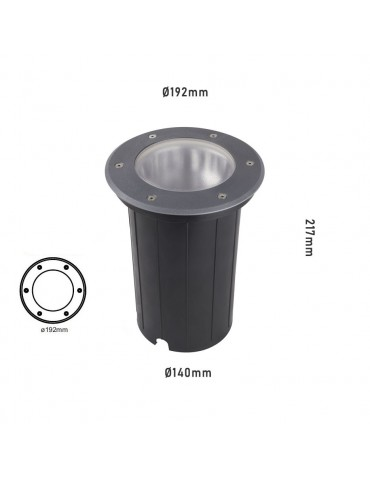 Foco Proyector LED de suelo Circular 12W 1800lm Gil 190 dimensiones