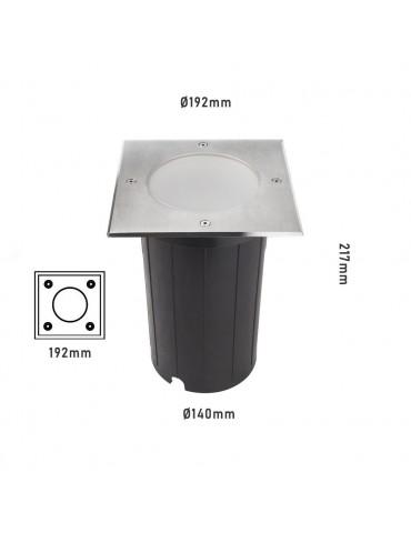 Foco Proyector E27 de suelo Cuadrado GIL190 INOX dimensiones