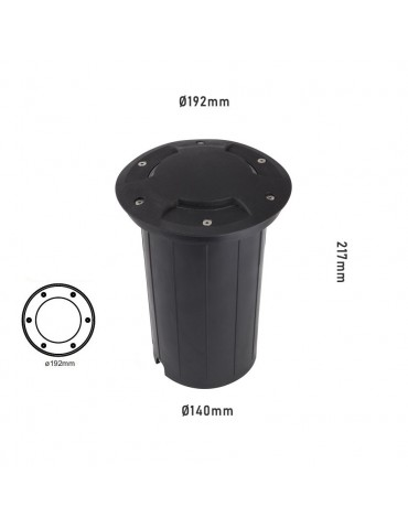 Foco Proyector E27 de suelo Circular Gil 190 con Tapa empotrar dimensiones