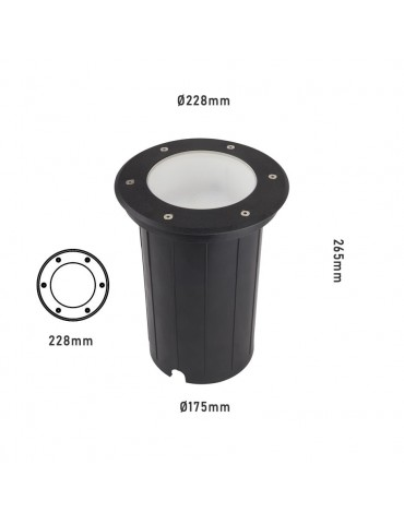 Foco Proyector E27 de suelo Circular Gil 230 empotrar
