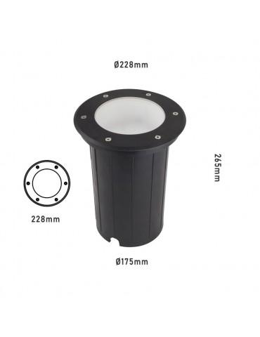 Foco Proyector E27 de suelo Circular Gil 230 empotrar dimensiones
