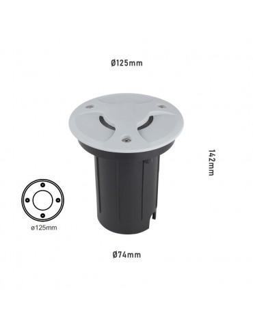 Foco Proyector LED 12W de suelo Circular Gil 190 con Tapa empotrar dimensiones