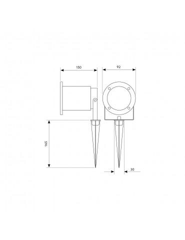 Proyector foco Jardín LED aluminio pincho BLAKE 2 dimensiones