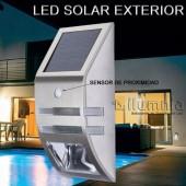 Aplique Solar LED INOX con sensor de movimiento
