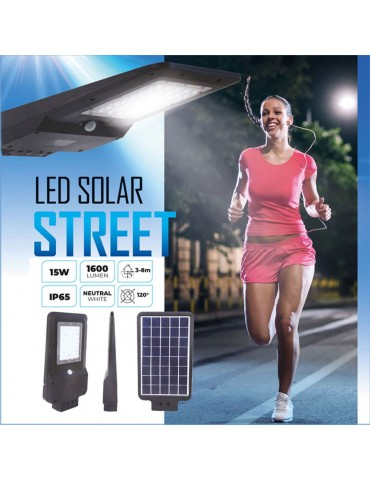 Luminaria solar LED 15W sensor movimiento