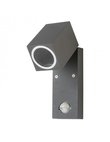 Aplique LED jardín sensor basculante 90º una cara QUAZAR 15 LX gris