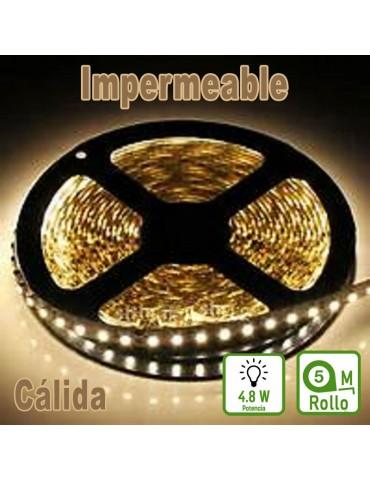 TIRA DE LED DC12V 4,8W IP65 160°BLANCA CÁLIDA 60LEDS SMD3528 Adhesivas