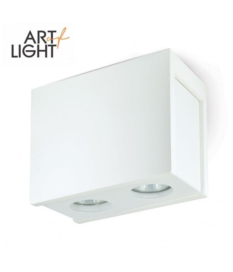 Aplique doble rectangular de techo PURO Blanco