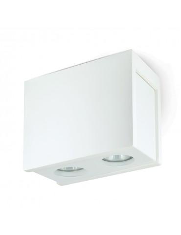 Aplique doble rectangular de techo PURO yeso y metal