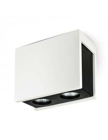Aplique doble rectangular de techo PURO NERO blanco y negro