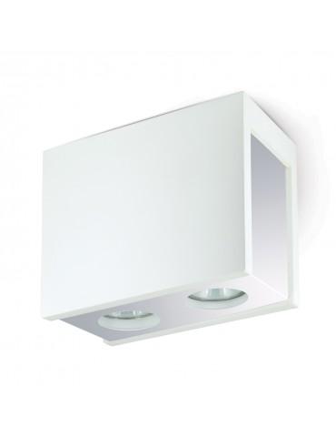 Aplique doble rectangular de techo PURO CHROME blanco y cromo