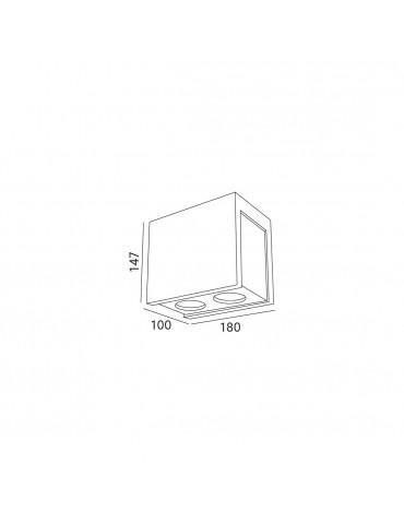 Aplique doble rectangular de techo PURO CHROME dimensiones