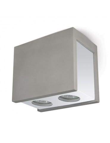 Aplique doble rectangular de techo PURO MASSO C gris y cromo