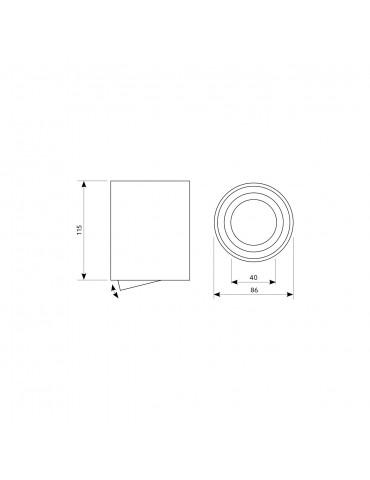 Aplique basculante OH36 L  Negro dimensiones