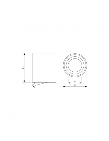 Aplique basculante OH36 Negro dimensiones