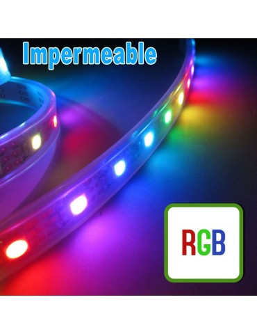 TIRA DE  LED RGB 12VDC 14,4W IP65 60LEDS  SMD5050 flexibles adhesivas