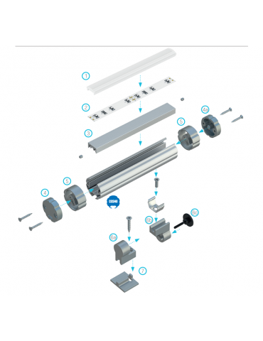 Montaje perfil de aluminio tira de led barra de colgar