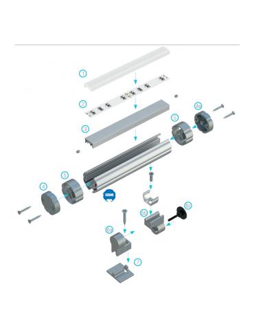 Montaje perfil de aluminio barra de colgar