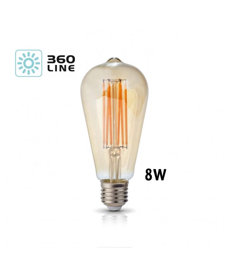 LED VINTAGE EDISON ST64 8W E27 230V CRISTAL AMBAR