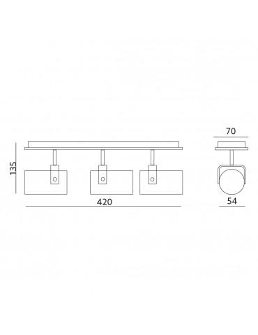 Aplique de techo GU10 ARLES 3 Blanco medidas