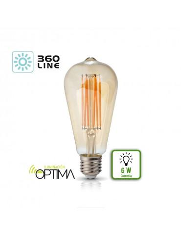 LED VINTAGE RETRO EDISON ST64 6W E27 230V CRISTAL 360°