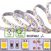 TIRA DE LED DC12V 7,2W IP20 160°BLANCA NEUTRA 30LEDS SMD5050 Adhesivas