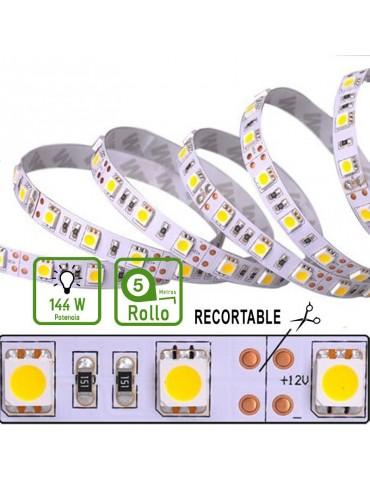 TIRA DE LED DC12V 14,4W IP20 160°BLANCA CÁLIDA 60 LEDS SMD5050 Adhesivas