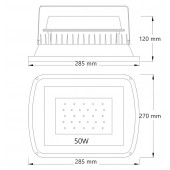 Proyector LED PROFESIONAL 50W SMD 120º SLIM dimensiones