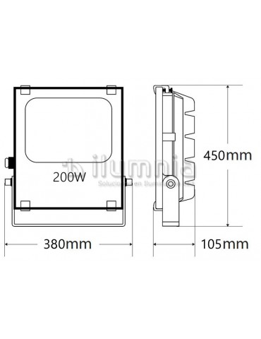 Proyector LED PROFESIONAL 200W SMD 120º SLIM dimensiones