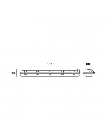 PANTALLA ESTANCA IP65 PARA 2 TUBOS LED 150cm Dimensiones