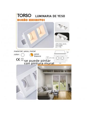 Aro rectangular empotrable de yeso modelo Torso