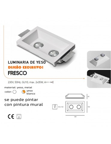 Aro rectangular empotrable de yeso modelo Fresco