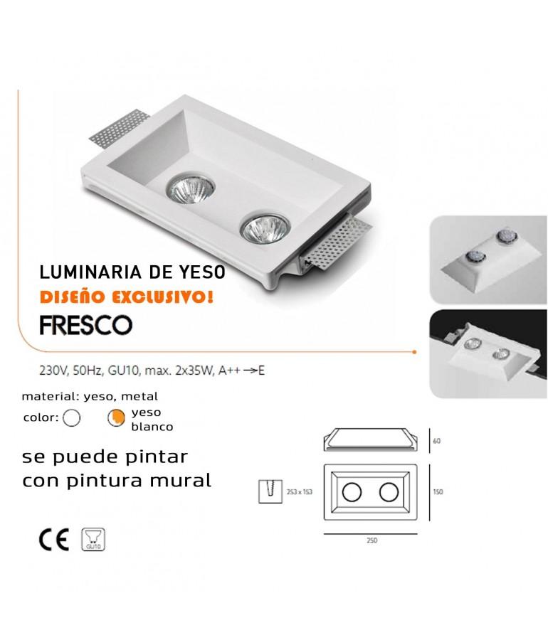 Aro rectangular empotrable de yeso modelo Fresco