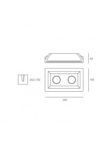 Aro rectangular empotrable de yeso modelo Fresco dimensiones