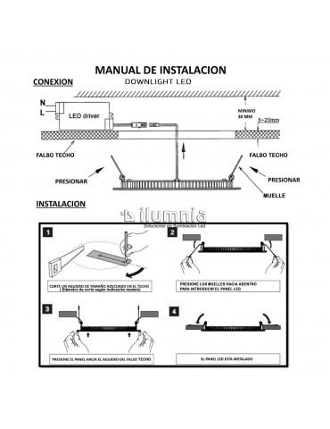 PANEL LED Downlight 18W Circular Empotrable Slim Plata instalación