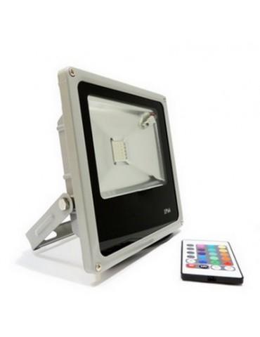 Proyector LED 30W RGB Remote Control IR 120°Slim IP65