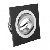 Aro de empotrar basculante Negro Cuadrado aluminio vista