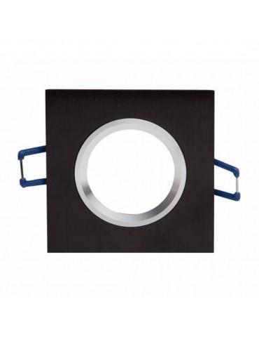 Aro de empotrar basculante Negro Cuadrado aluminio frente