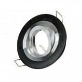 Aro de empotrar basculante OH29 Redondo Negro cepillado perfil