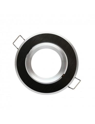 Aro empotrar basculante NEGRO Redondo aluminio Cepillado frente