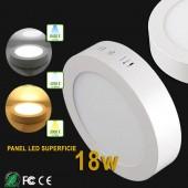 PANEL LED Downlight circular 18W plano de superficie