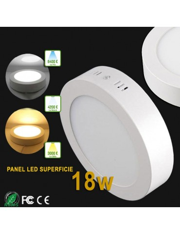 PANEL LED Downlight circular 18W plano de superficie