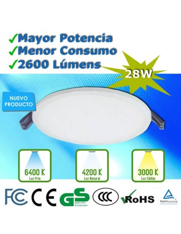 PANEL LED  DOWNLIGHT 28W SLIM CIRCULAR EMPOTRABLE PLANO