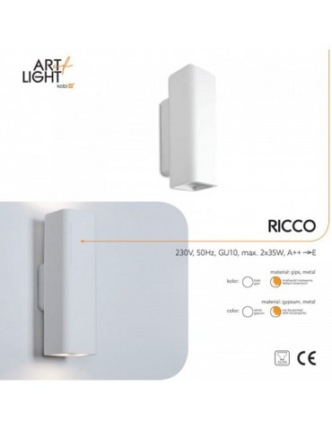 Aplique de pared yeso RICCO 2xGU10