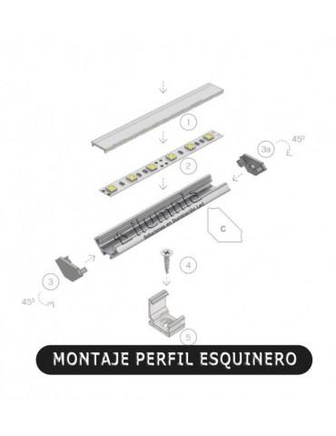 """Montaje tapas perfil ANGULO 45 """"C"""" Tira led"""
