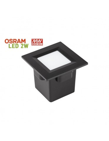 Aplique Pared LED 2W Cuadrado Clara 85 empotrar negro
