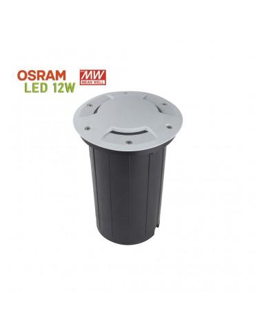 Foco Proyector LED 12W de suelo Circular Gil 190 con Tapa empotrar gris